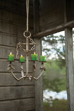 nautical beach cottage distressed metal anchor candle holder chandelier - Nautical Chandelier