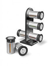 6 BARATTOLI Portaspezie Magnetico Stand Set, accentati Scaffale & Etichette Autoadesive