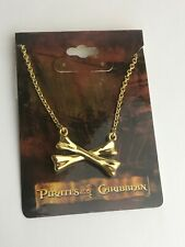 Walt Disney Pirates of the Caribbean Gold Tone Skull Bone Chain Necklace