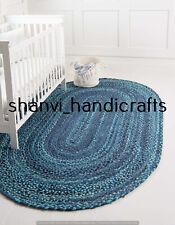 Oval Braided Rug Bohemian Handmade Handwoven 6x9 Feet Home Decor Floor Yoga Mats