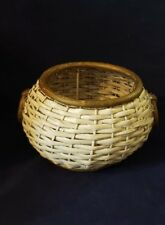 Vintage Weaved Wicker Basket Round Crafts Bowl With Handles