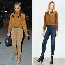 ZARA CAMEL SUEDE EFFECT CROPPED OVERSHIRT SIZE S