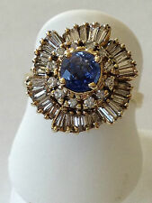 Sapphire Diamond  14k yellow Gold ballerina Ring baguette round 2.00 carat total