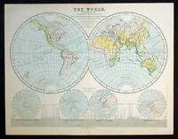 1866 Mackenzie Antique Twin Hemisphere World Map, Mountains, Rivers, Trade Winds
