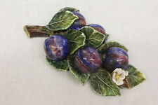 Vintage Handpainted COTTURA Ceramic Pottery Decorative Wall Hanging PLUMS Branch