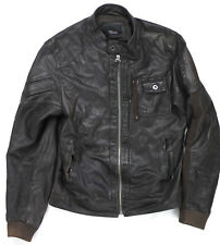 Zara Cafe Racer Brown Leather Jacket Medium Preowned Condition