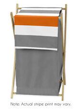 Kids Childrens Clothes Laundry Hamper For Sweet Jojo Gray Orange Stripe Bedding
