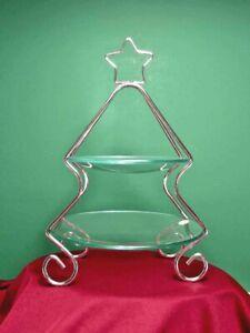 "GODINGER CHRISTMAS TREE DISPLAY RACK COOKIES Silver Glass 11"" Tall Candy Cupcake"