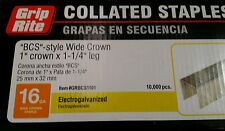 "GRIP RITE BCS STYLE STAPLES 16 GAUGE 1"" WIDE CROWN x 1-1/4"" LEG 10,000 COLLATED"