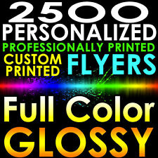 2500 CUSTOM PROFESSIONALLY PRINTED 8.5x11 PERSONALIZED FLYERS Full Color Gloss