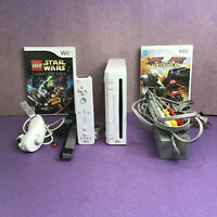 Nintendo Wii Bundle White Console RVL-001 - w/ Controller & 2 games TESTED