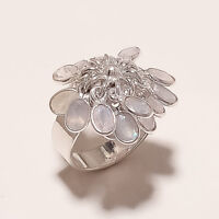 9.20Gm Natural Moonstone Cut Ring Fine 925 Solid Sterling Silver Size 8.7 i-2590