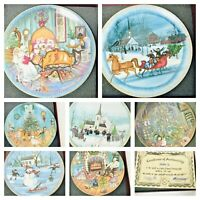 P BUCKLEY MOSS Amish Christmas Plates Anna Perenna 1986 Through 1992 Lot of 7