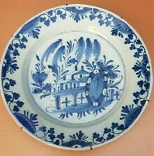 Antique 1800s Dutch Delft earthenware blue & white Wall Charger deep Plate 13.5""