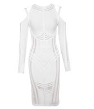 BCBG MaxAzria Clod  Shoulders Bandage Dress White Mesh A55 Midi Long Sleeve *M