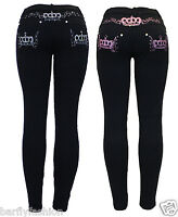 New Womens Stretchy Black Pink Embroidery Crown Skinny Jean Jeggings Leggings