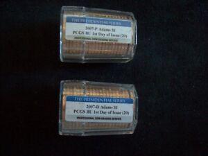 2007 P&D John Adams Presidential Dollar Rolls, Certified FDOI & Gem BU by PCGS!!