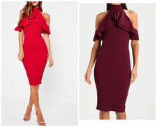 MISSGUIDED red high neck frill cold shoulder midi dress (M52/6)