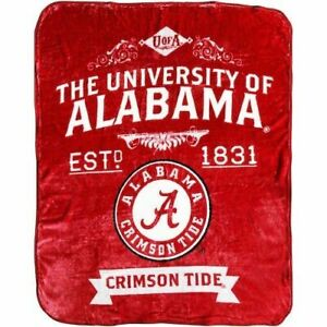 "Alabama Crimson Tide Label Design 50"" x 60"" Raschel Plush Blanket by Northwest"