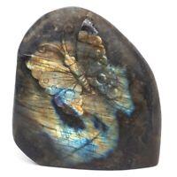 "3.6"" Butterfly Natural Gems Labradorite Crystal Carved Animal Figurine Crafts"