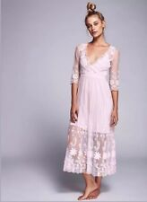 Free People Friends Forever Blush Sheer Embroidered Mesh Maxi Dress Sz M $198