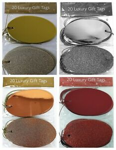 20 Christmas Oval Tags, Foil & Glitter Design - Gold / Silver / Rose Gold or Red