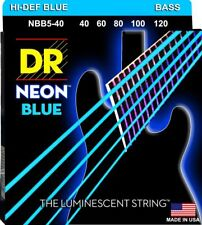 DR NBB5-40 Neon Blue BASS Guitar String 5-String Set gauges 40-120