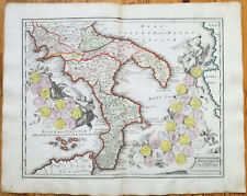 Koehler Large Historical Map of Southern Italy 1720#