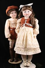 """Kestner 22"""" Antique Repro Bisque Composition Pair of Dolls Mold 208 Closed Mouth"""