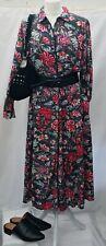 Floral Midi Shirt Dress  16 Pockets Button Down Black Piping