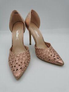 Anne Michelle Rose Gold Floral Crochet Pointed Stiletto Heels - UK 5 BNIB