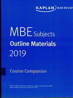 2019 --BRAND NEW--KAPLAN MBE SUBJECTS OULINE MATERIALS (BARBRI)