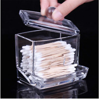 Cotton Swab Q-tip Acrylic Storage Holder Box Clear Cosmetic Makeup Organizer U