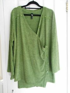 TS Taking Shape Plus Size S Green Long Sleeved Knit Cardigan With Button Detail