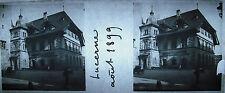 Photographie place à Lucerne Aout 1899 Suisse Luzern stéréoscopique Schweiz