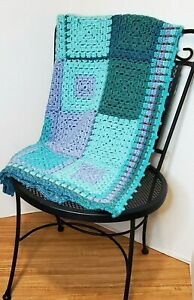 """Hand Crocheted Teal and Purple Granny Square Afghan 46"""" x 29 """""""