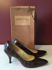 I Magnin Co Frank More Originals Vintage Brown Alligator Heels 6.5 Pumps & Box