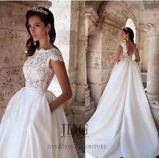 Wunderschönes Spitze Cosage Brautkleid Hochzeitskleid Kurzarm Maßanfertigung