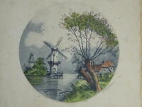 Engraving Colours Landscape Of Mills Signed Pencil