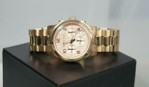 MIchael KORS Rose Gold Steel Bracelet Chrono Analog Date Dial Stop Watch MK5128