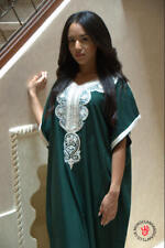 Handmade green kaftan with cream embroidery