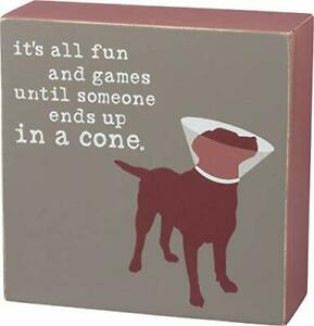 Primitives by Kathy 39138 Dog is Good Wood Box Sign, 5 x 5-Inches, Fun & Games
