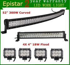 """52inch 300W LED Light Bar + 22"""" 120W + 4"""" 18W CREE Flood Pods Offroad Jeep Ford"""