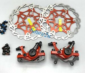Red MTB Bike Mechanical Disc Brakes Calipers Both sides push 160mm brake rotors
