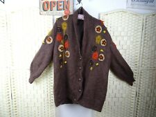 vintage mohair lined cardigan fluffy 80s beaded brown chunky  XL PB391