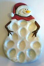 Tabletops Gallery Winterland Snowman Devilled Egg Serving Dish - Euc