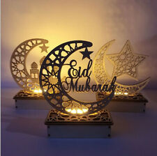 Eid Ramadan Mubarak Moon Home Decorations LED Wooden Candle Light Party Supplies