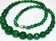 "New 6-14mm Faceted Natural green  Emerald Round Beads Necklace 18""AAA"