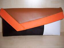 Naranja, Bronceado, Blanco y Negro Imitación Cuero Bolso sin asas. encantadoramente hecho a mano en el Reino Unido.