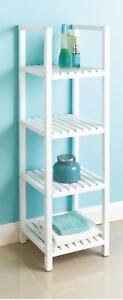 Wooden 4 Tier Bath Towel Rack Shelves Storage Stand Holder Caddy Shelf Unit